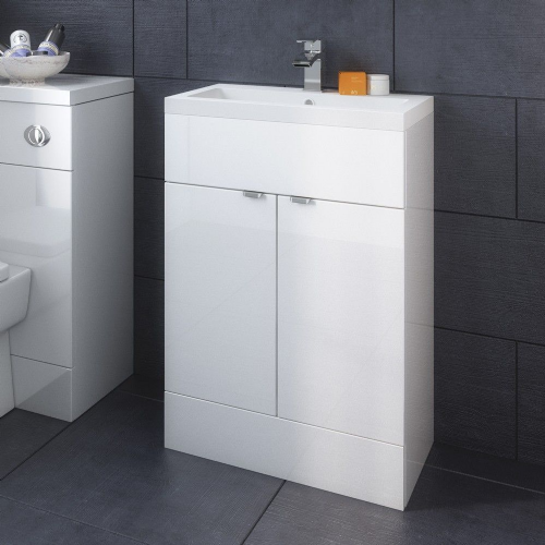 Elite White Gloss 600mm Full Depth Vanity Unit & Basin